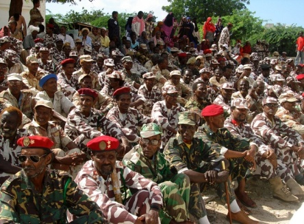 Former Somali army soldiers attend a parade in the capital Mogadishu